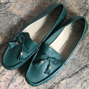 Isaac Mizrahi Live Loafers in Green Leather 9W